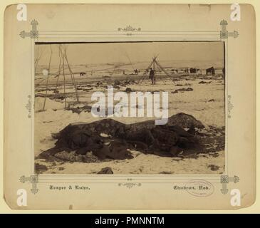 Big Foot's camp three weeks after the Wounded Knee Massacre (Dec. 29, 1890), with bodies of several Lakota Sioux people wrapped in blankets in the foreground and U.S. soldiers in the - Stock Photo