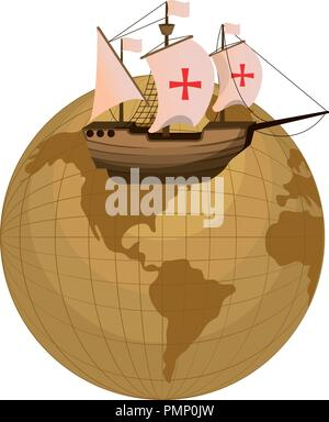 global planet and ship navigation transport - Stock Photo