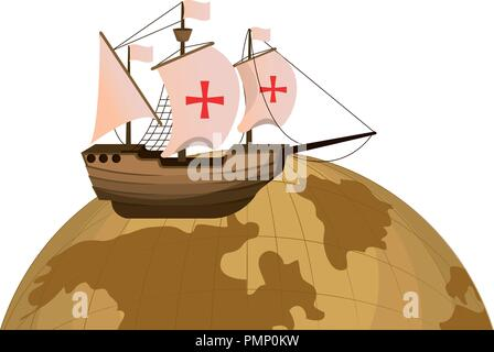 global planet and wood ship transport - Stock Photo
