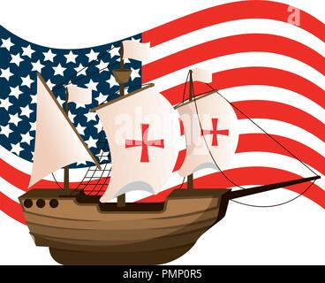 usa flag and ship navigation transport - Stock Photo