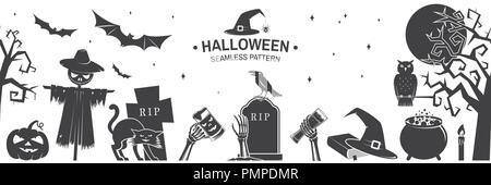 Seamless pattern for Halloween celebration silhouette. Halloween background with flying bats, old farm, moon, tree, spider and ghost silhouette. Vector illustration. - Stock Photo