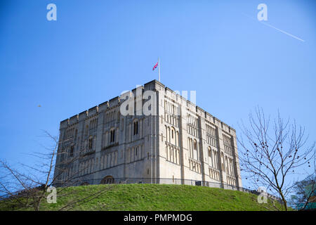 The Castle in the East Anglian city of Norwich, founded after the Norman Conquest now houses a museum and art gallery. Norwich, Norfolk - Stock Photo