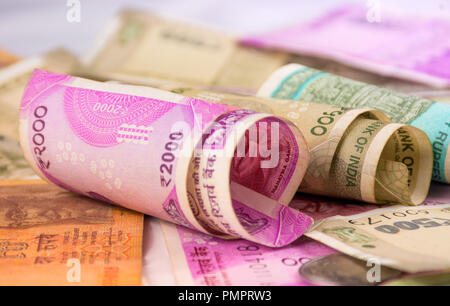 Indian Currency Background, Two Thousand and Five Hundred with Coins New Currency - Stock Photo