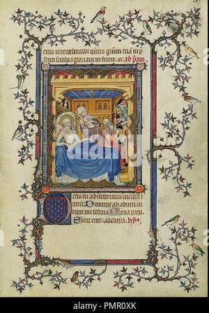 Birth and Naming of Saint John the Baptist Petites Heures du Duc de Berry. - Stock Photo