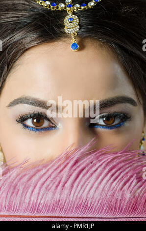 Close up of a woman hiding face with pink feather - Stock Photo