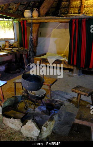 Crofters cottage at the Ryedale Folk Museum, Hutton le Hole, Yorkshire UK - Stock Photo
