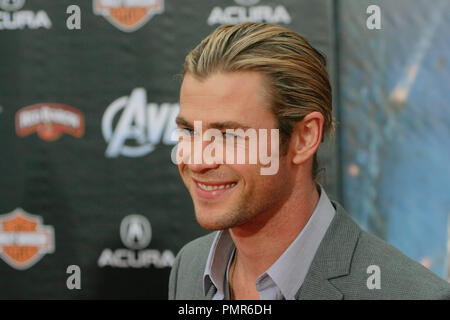 Chris Hemsworth at the World Premiere of 'Marvel's The Avengers'. Arrivals held at El Capitan Theatre in Hollywood, CA, April 11, 2012. Photo by Joe Martinez / PictureLux - Stock Photo