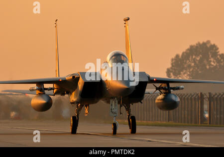 McDonnell Douglas F15C Eagle of the 493rd Fighter Squadron, 48th Fighter Wing, RAF Lakenheath, Suffolk, UK, a high speed fighter interceptor. - Stock Photo