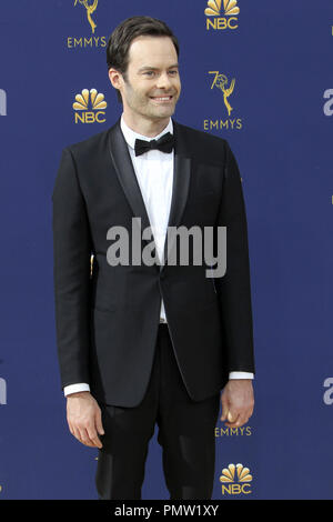 September 17, 2018 - Los Angeles, CA, USA - LOS ANGELES - SEP 17:  Bill Hader at the 2018 Emmy Awards Arrivals at the Microsoft Theater on September 17, 2018 in Los Angeles, CA (Credit Image: © Kay Blake/ZUMA Wire) - Stock Photo