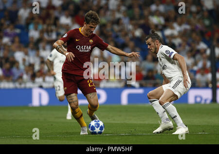 Madrid, Madrid, Spain. 19th Sep, 2018. Nicolo Zaniolo (AS Roma) seen in action during the UEFA Champions' League group G football match Real Madrid against AS Roma at the Santiago Bernabeu Stadium in Madrid.Final Score Credit: Manu Reino/SOPA Images/ZUMA Wire/Alamy Live News - Stock Photo
