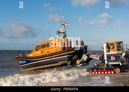 Lifeboat  RNLI Shannon Class Lifeboat William F Yates at Lifeboat station Llandudno north wales UK, sea launch. - Stock Photo