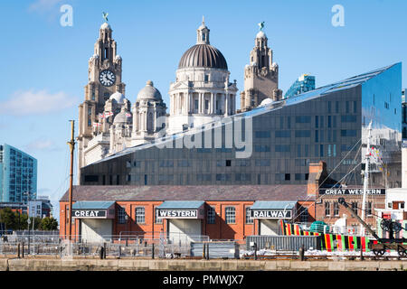 Liverpool Canning Dock Mann Island old Great Western Railways modern contemporary IPX Voice Three Graces Royal Liver Cunard Port building buildings - Stock Photo