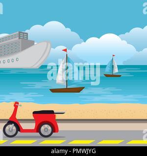 urban road scenery icon - Stock Photo