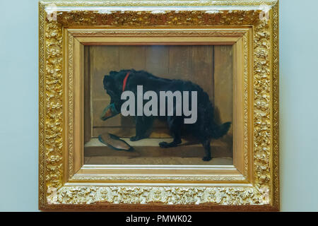 Liverpool Mossley Hill Victorian home Sudley House built 1821 completed George Holt now museum original art collection Dog with Slipper Landseer - Stock Photo