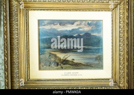 Liverpool Mossley Hill Victorian home Sudley House built 1821 completed George Holt museum original art collection A Lake Scene Sir Edwin Landseer - Stock Photo