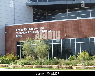 Frisco,Texas: Cowboy World HQ and National Soccer Hall of Fame and  Frisco ISD Admin, Tech and HS That Benefits - Stock Photo
