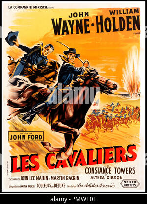 Prod DB © Mirisch Corporation / DR LES CAVALIERS (THE HORSE SOLDIERS) de John Ford 1958 USA affiche française avec John Wayne et William Holden western - Stock Photo
