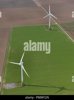 Aerial view wind turbines in agricultural fields near Frankfurt, Hessen, Germany - Stock Photo