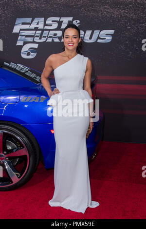Michelle Rodriguez arrives at the premiere of Universal Pictures' 'Fast & Furious 6' at Gibson Amphitheatre on May 21, 2013 in Universal City, California. Photo by Eden Ari / PRPP / PictureLux  File Reference # 31967_112PRPPEA  For Editorial Use Only -  All Rights Reserved - Stock Photo