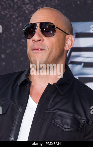 Vin Diesel arrives at the premiere of Universal Pictures' 'Fast & Furious 6' at Gibson Amphitheatre on May 21, 2013 in Universal City, California. Photo by Eden Ari / PRPP / PictureLux  File Reference # 31967_134PRPPEA  For Editorial Use Only -  All Rights Reserved - Stock Photo