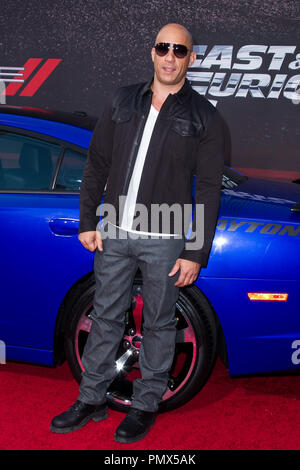 Vin Diesel arrives at the premiere of Universal Pictures' 'Fast & Furious 6' at Gibson Amphitheatre on May 21, 2013 in Universal City, California. Photo by Eden Ari / PRPP / PictureLux  File Reference # 31967_136PRPPEA  For Editorial Use Only -  All Rights Reserved - Stock Photo