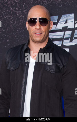 Vin Diesel arrives at the premiere of Universal Pictures' 'Fast & Furious 6' at Gibson Amphitheatre on May 21, 2013 in Universal City, California. Photo by Eden Ari / PRPP / PictureLux  File Reference # 31967_137PRPPEA  For Editorial Use Only -  All Rights Reserved - Stock Photo