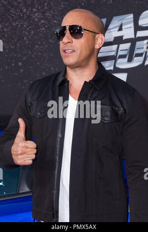 Vin Diesel arrives at the premiere of Universal Pictures' 'Fast & Furious 6' at Gibson Amphitheatre on May 21, 2013 in Universal City, California. Photo by Eden Ari / PRPP / PictureLux  File Reference # 31967_139PRPPEA  For Editorial Use Only -  All Rights Reserved - Stock Photo