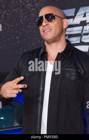 Vin Diesel arrives at the premiere of Universal Pictures' 'Fast & Furious 6' at Gibson Amphitheatre on May 21, 2013 in Universal City, California. Photo by Eden Ari / PRPP / PictureLux  File Reference # 31967_141PRPPEA  For Editorial Use Only -  All Rights Reserved - Stock Photo