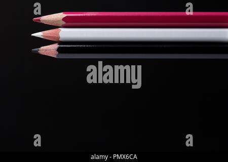 color pencils on black background close up.  - Stock Photo