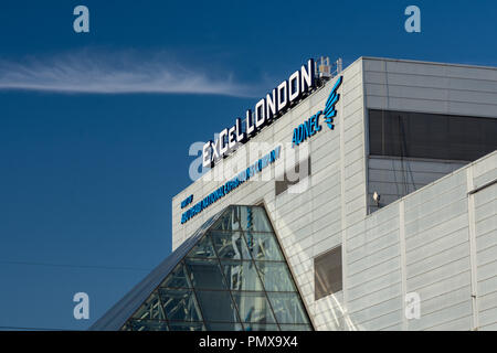 London, England, UK - September 2, 2018: A large sign marks the entrance to ExCeL exhibition centre in East London's Docklands. - Stock Photo
