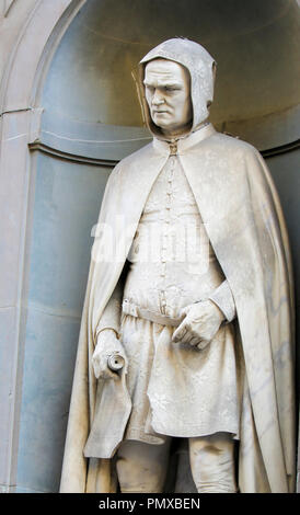 Statue of Giotto di Bondone, a famous 13th Century Italian painter and architect from Florence, in Florence, Italy. - Stock Photo