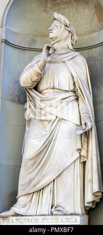 Statue of Francesco Petrarce or Petrarch in Florence, Italy. Petrarch was a famous scholar, poet and humanist. - Stock Photo