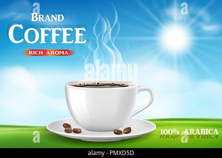 Instant coffee ad, with coffee cup on sunny morning and green grass background, Product black coffee design with bokeh. 3d illustration - Stock Photo