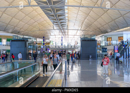 Hong Kong, June 02, 2018: Inside Hong Kong International Airport - Stock Photo