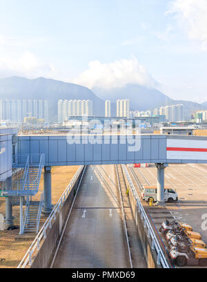 Hong Kong, June 02, 2018: Aerobridge At Hong Kong International airport - Stock Photo