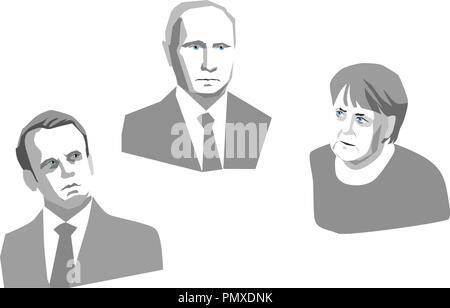 A vector illustration showing Angela Merkel, Vladimir Putin and Emmanuel Macron. - Stock Photo