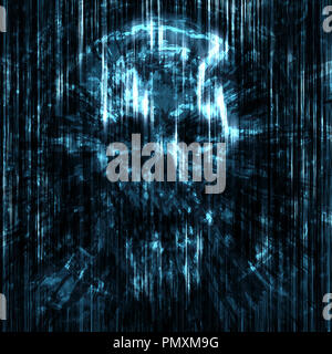 Terrible skull background into small debris. Blue color. - Stock Photo