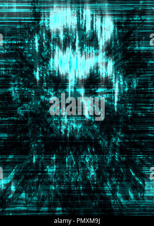 Terrible skull abstraction into small debris. Background in genre of horror. Scary character head. - Stock Photo