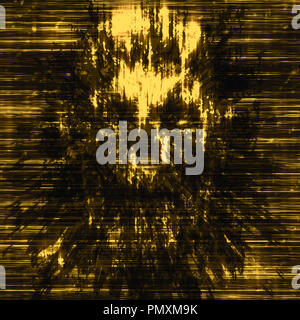 Terrible skull abstraction into small debris. Background in genre of horror. Orange color. - Stock Photo