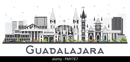 Guadalajara Mexico Skyline with Gray Buildings Isolated on White. Vector Illustration. Business Travel and Tourism Concept with Historic Architecture. - Stock Photo