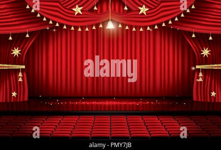 Red Stage Curtain with Seats and Copy Space. Theater, Opera or Cinema Scene. Light on a Floor. Vector Illustration. - Stock Photo