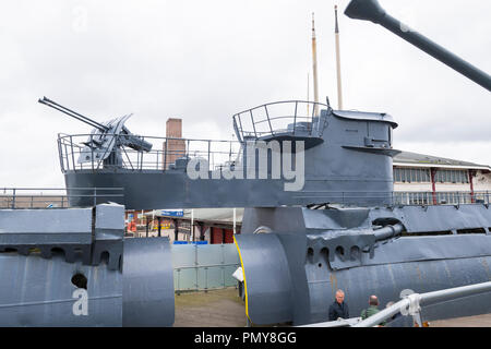 Liverpool Birkenhead Mersey Ferries Woodside Ferry Terminal Merseyside River Mersey u-boat  U-534 German submarine war ship sections to view interior - Stock Photo