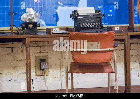 Liverpool Exchange Flags Western Approaches HQ WWII Second World War Derby House museum bunker Citadel Fortress Citadel or Fortress desk typewriter - Stock Photo
