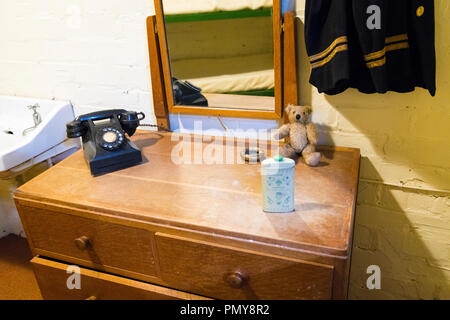 Liverpool Exchange Flags Western Approaches HQ WWII Second World War Derby House museum bunker Citadel Fortress Citadel or Fortress bedroom detail - Stock Photo