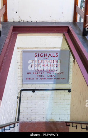 Liverpool Exchange Flags Western Approaches HQ WWII Second World War Derby House museum bunker steps access sign Citadel Fortress Citadel Fortress - Stock Photo