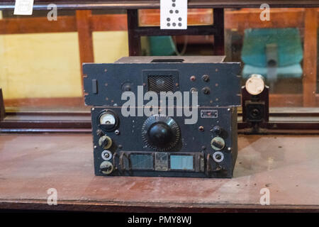 Liverpool Exchange Flags Western Approaches HQ WWII Second World War Derby House museum bunker Citadel Fortress Citadel or Fortress radio receiver - Stock Photo