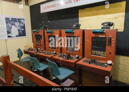 Liverpool Exchange Flags Western Approaches HQ WWII Second World War Derby House museum bunker Citadel Fortress Citadel Fortress phone switchboard - Stock Photo