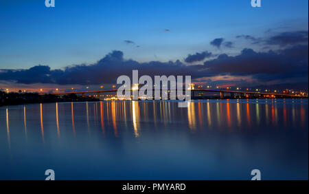 two Mactan Bridges with reflections in Water, night shoot, long expose
