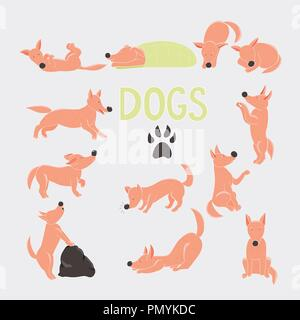 Orange cartoon dog character set. Twelve red dogs in different poses. - Stock Photo
