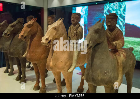 Liverpool William Brown Street World Museum China's First Emperor & The Terracotta Warriors Exhibition soldiers on horseback - Stock Photo